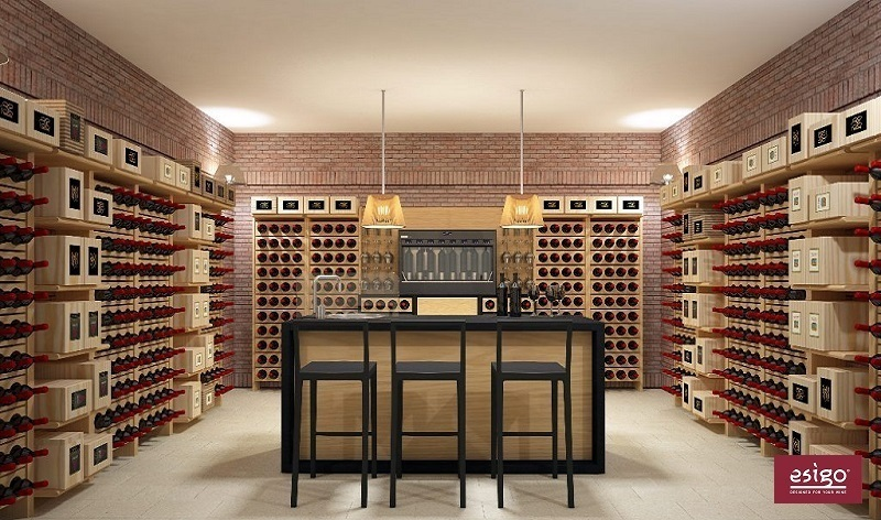 Esigo 2 Classic wooden wall mounted wine rack