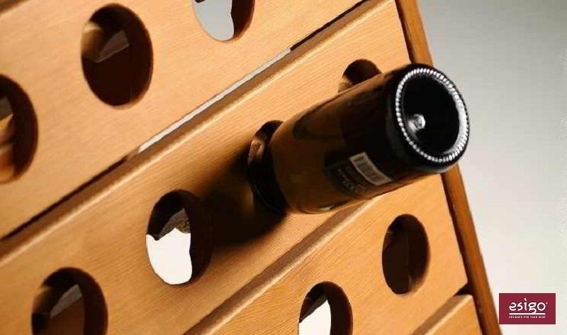 Esigo 3 Classic Champagne wooden wine rack