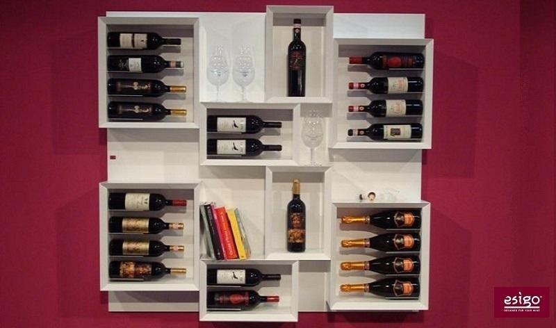 Esigo 5 white wooden wine rack
