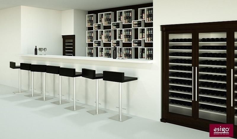 Wine bar furniture Esigo with wine rack and custom refrigerated wine cabinets