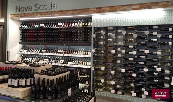 Wine shop furniture with Esigo metal wine racks