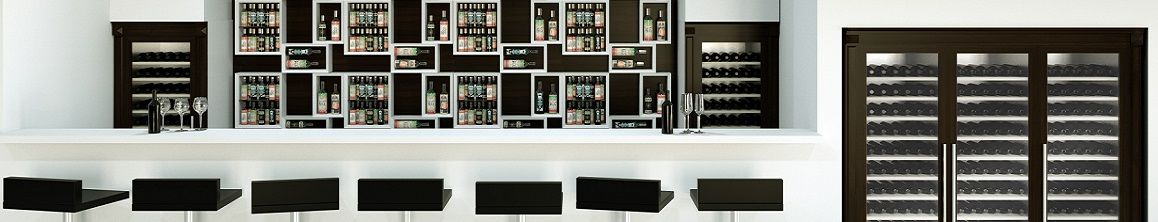 Esigo wine bar furniture with refrigerated wine cabinets