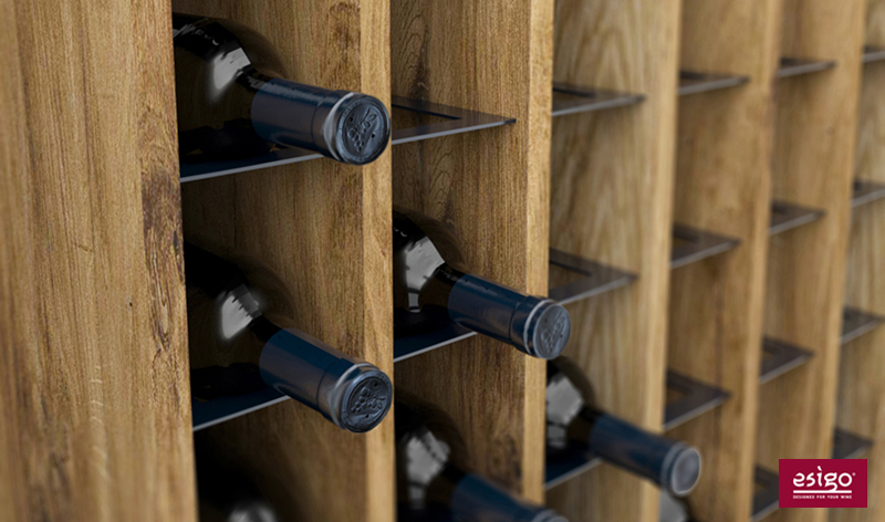 Esigo 14 wooden wine rack detail