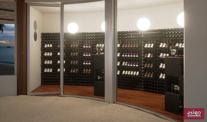 Esigo 2 Net metallic wine rack - wine room with air conditioning furniture