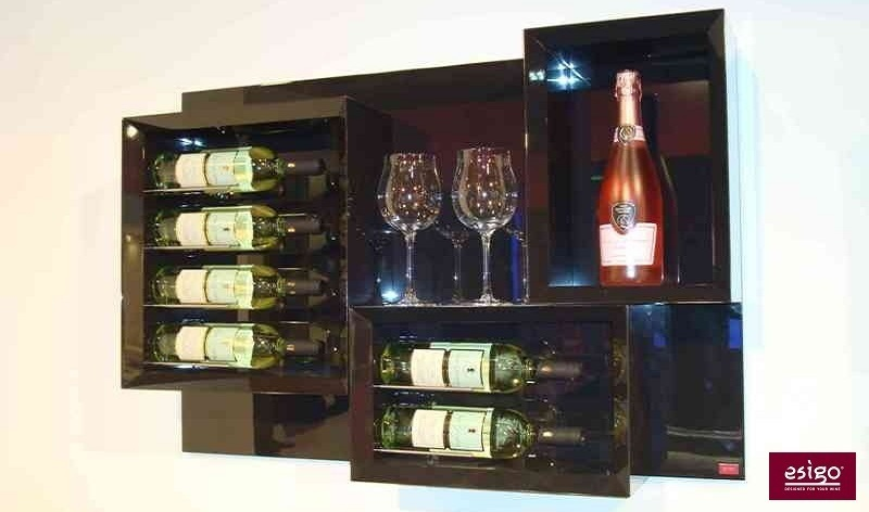 Gallery esigo 5 botellero de madera para pared - Estantes para vinos ...