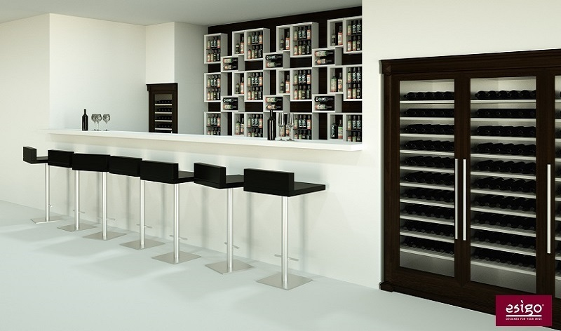 Wine bar furniture Esigo with wine rack and custom refrigerated wine cabinets