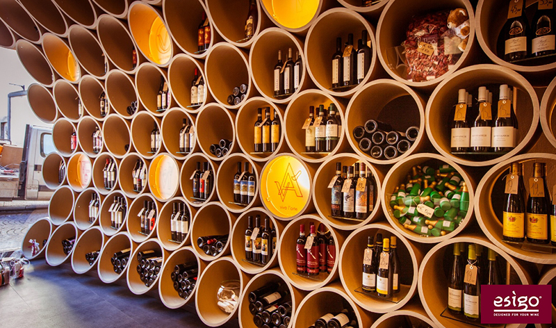 Wine shop furniture with Esigo metal wine racks