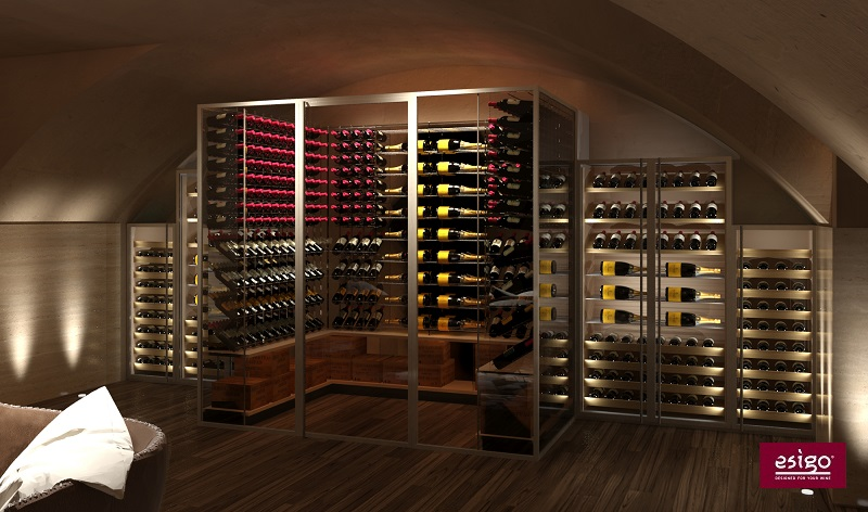 Wine room furniture with refrigerated wine cellar