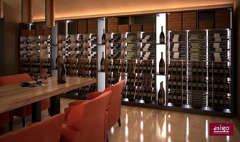 Esigo Wine room with wine tasting table